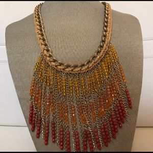 EUC Anthropologie orange beaded necklace